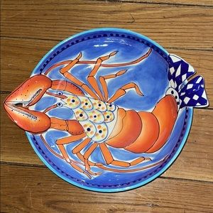 Stoneware hand painted lobster serving bowl - NWOT